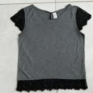 Divided H&M -  Gray Shirt - Embellised With Lace.